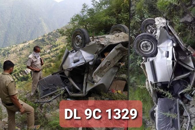 पंचेश्वर क्षेत्र रौसाल रोड में वाहन गिरा गहरी खाई में